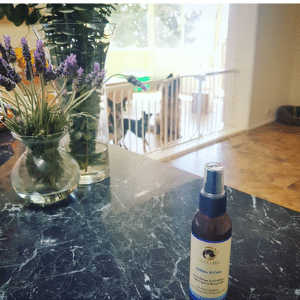 stillness and calm bottle on bench with lavender and dogs in background at Canine Culture Australia