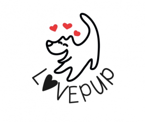 Love Pup Shop logo smiling relaxed calm dog with hearts