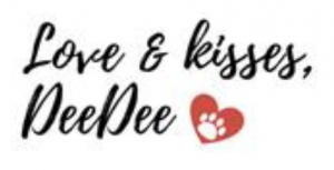 Love and kisses signature from cute white dog Dee Dee