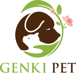 Genki Pet Logo peaceful looking brown dog and white cat held in green hand of nature and humans with a green leaf and pick flower around them