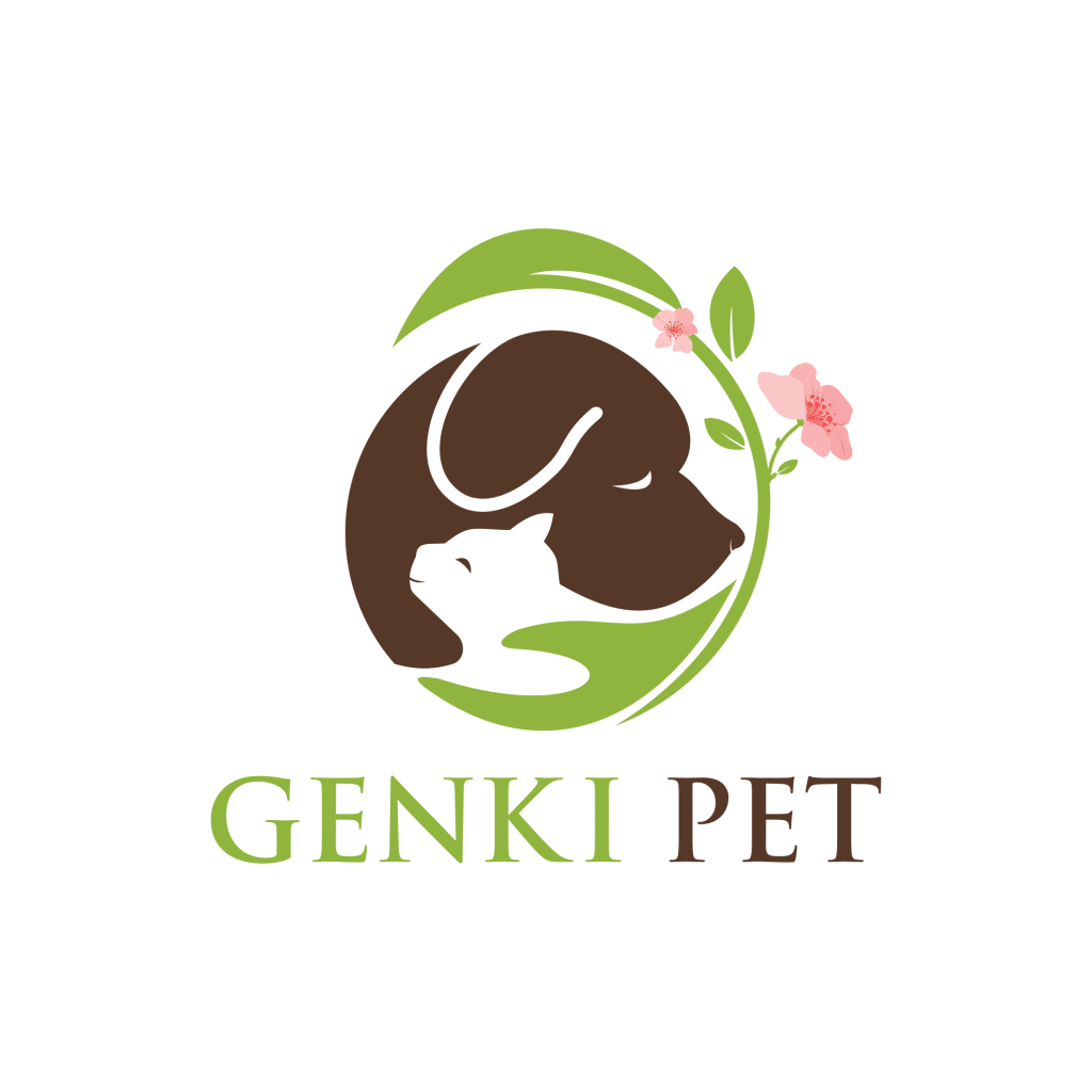Brown dog and white cat held by green hand with leaf and flower on transparent background as logo for Genki Pet